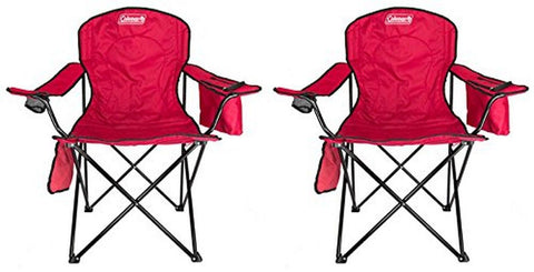 (2) COLEMAN Camping Outdoor Oversized Quad Chairs w/ Cooler & Cup Holder - Red - Chickadee Solutions - 1