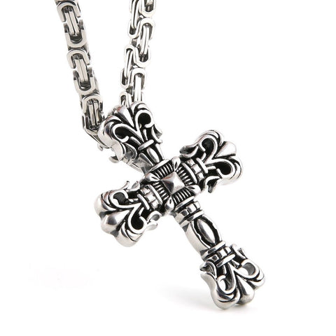 Mens Big Stainless Steel Fleur De Lis Cross Pendant Necklace. Mechanic Style ... - Chickadee Solutions - 1