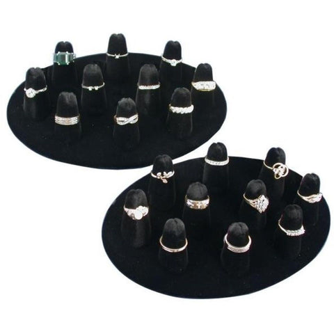 10 Ring Finger Display Black Velvet 2Pcs - Chickadee Solutions