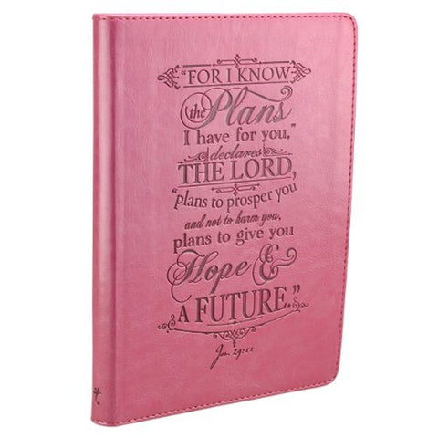 """I Know the Plans"" Pink Flexcover Journal - Chickadee Solutions - 1"