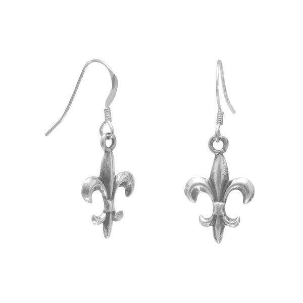 Oxidized Fleur de Lis French Wire Earrings