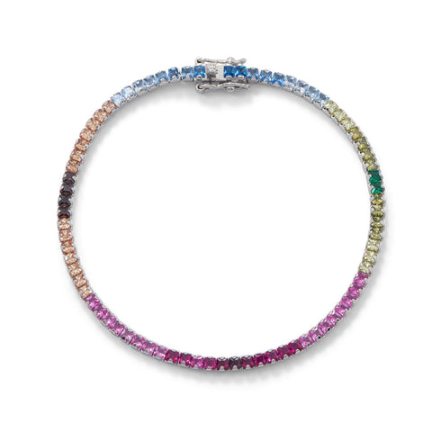 Rhodium Plated Rainbow CZ Tennis Bracelet