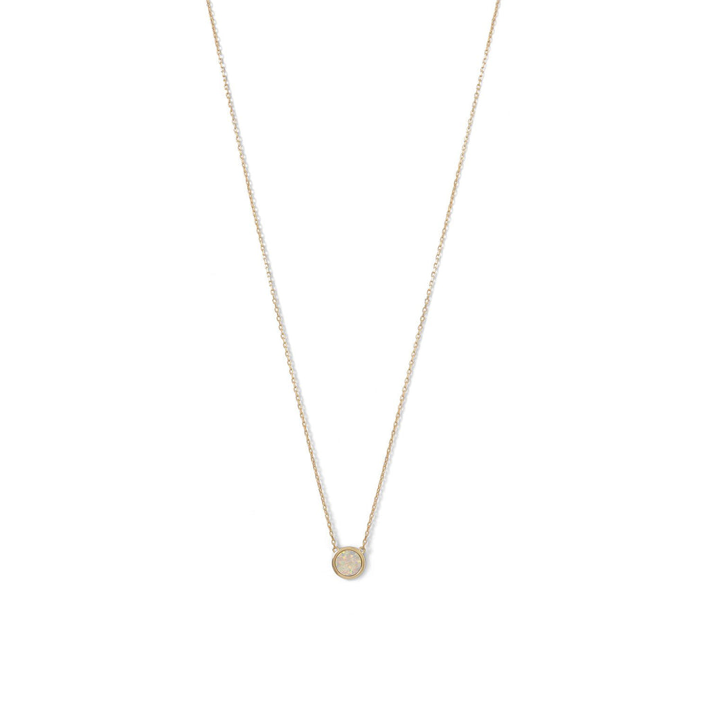 14 Karat Gold Plated Mini Synthetic White Opal Necklace