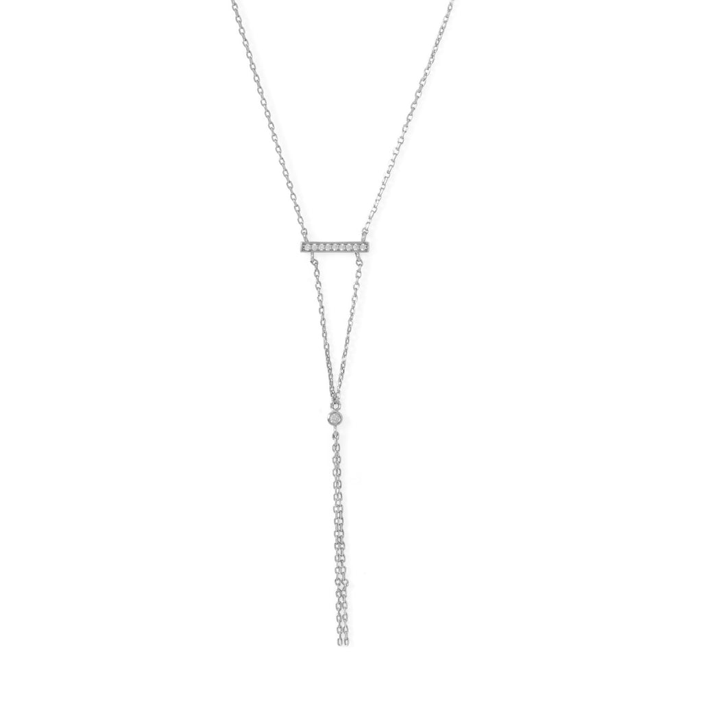 Rhodium Plated Bar Necklace with Y Drop