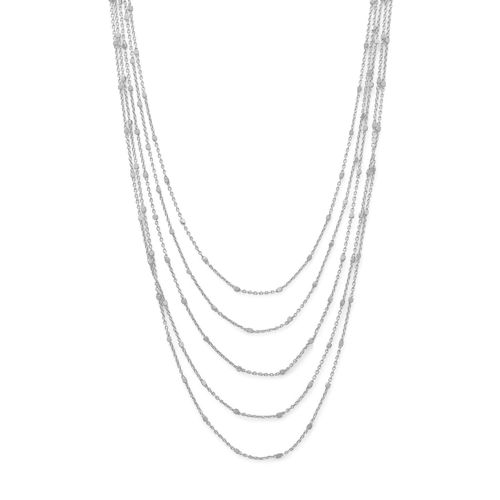Rhodium Plated Five Strand Satellite Chain Necklace