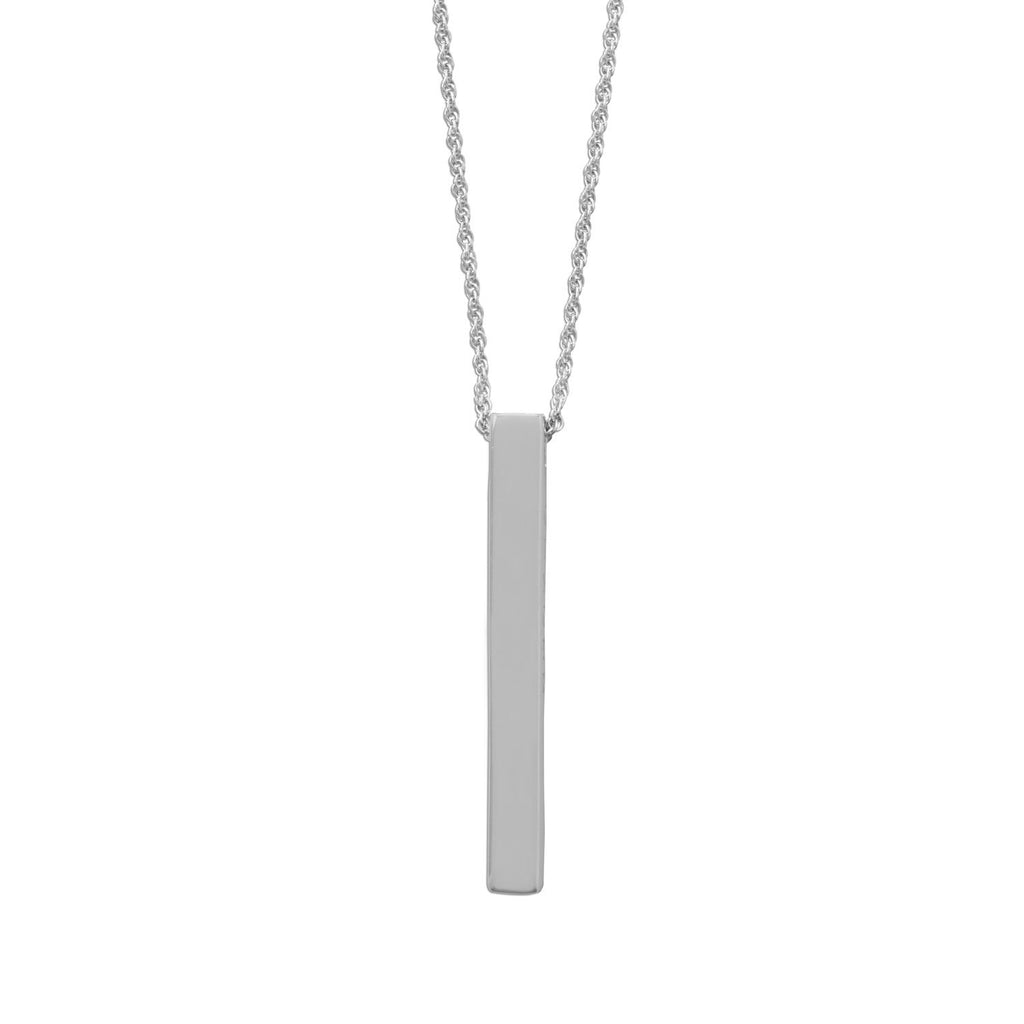 Four Sided Rhodium Plated Vertical Bar Drop Necklace
