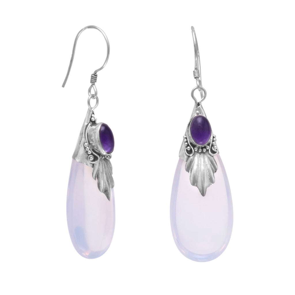 Glass and Amethyst Drop French Wire Earrings