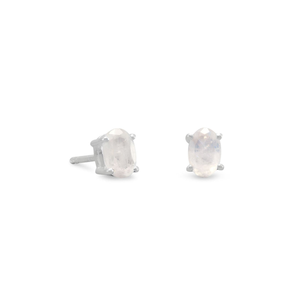 Rainbow Moonstone Stud Earrings
