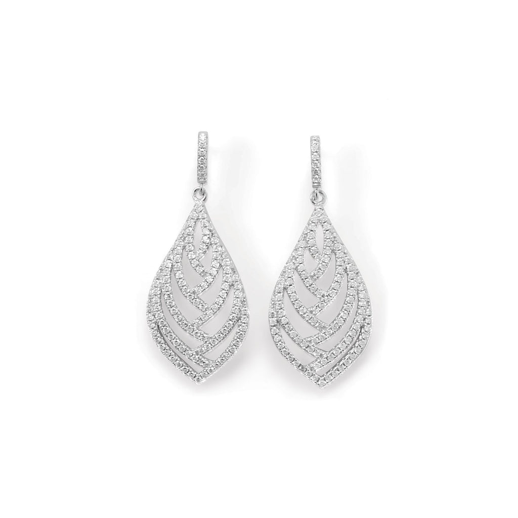 Rhodium Plated CZ Leaf Earrings