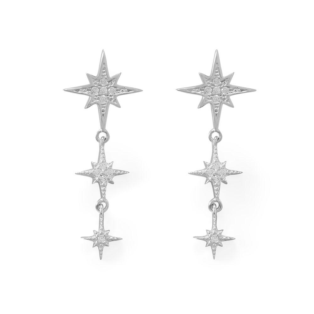 Rhodium Plated CZ Star Drop Earrings