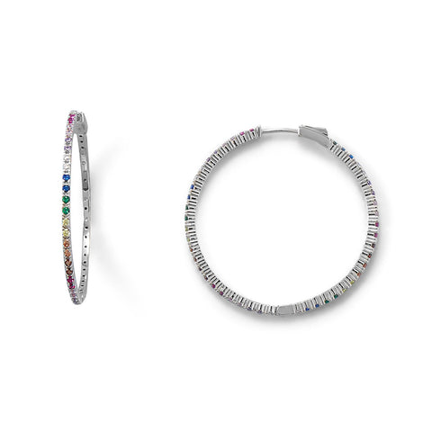 Rhodium Plated Multi Color CZ 40mm Click Hoop Earrings