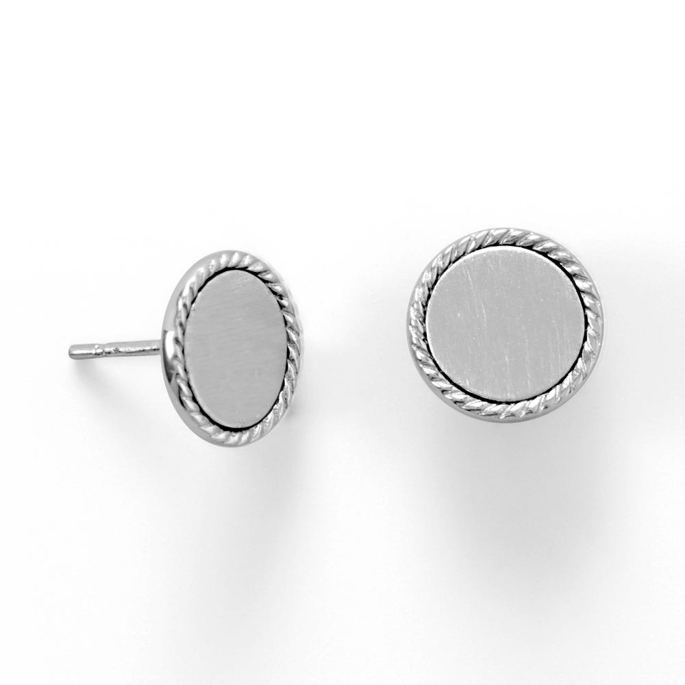 Engravable Rhodium Plated Rope Edge Disk Stud Earrings