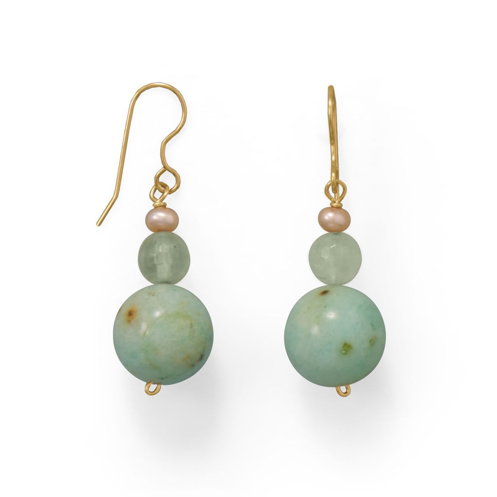 Green Agate & Prehnite Earrings