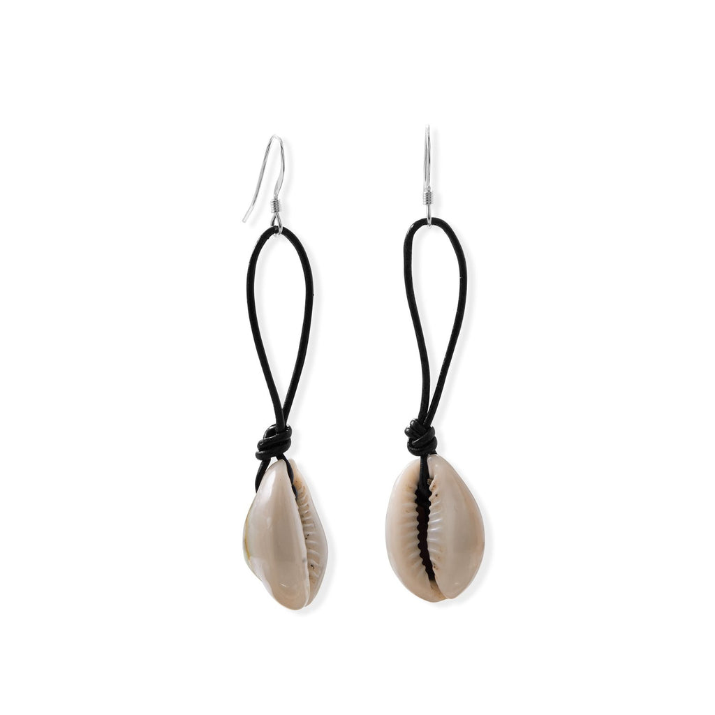 Cowrie and Leather French Wire Earrings