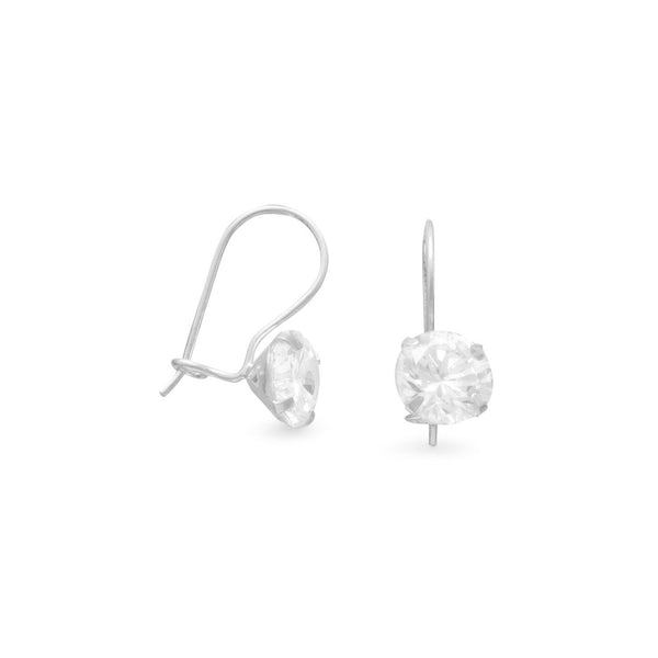 8mm Solitaire CZ Wire Earrings