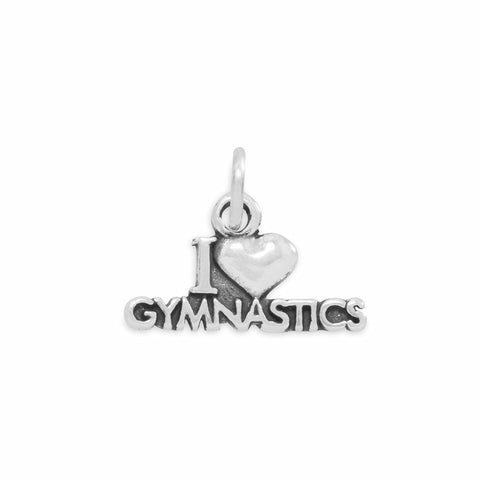 13.5x22.5mm I Love Swimming Charm .925 Sterling Silver
