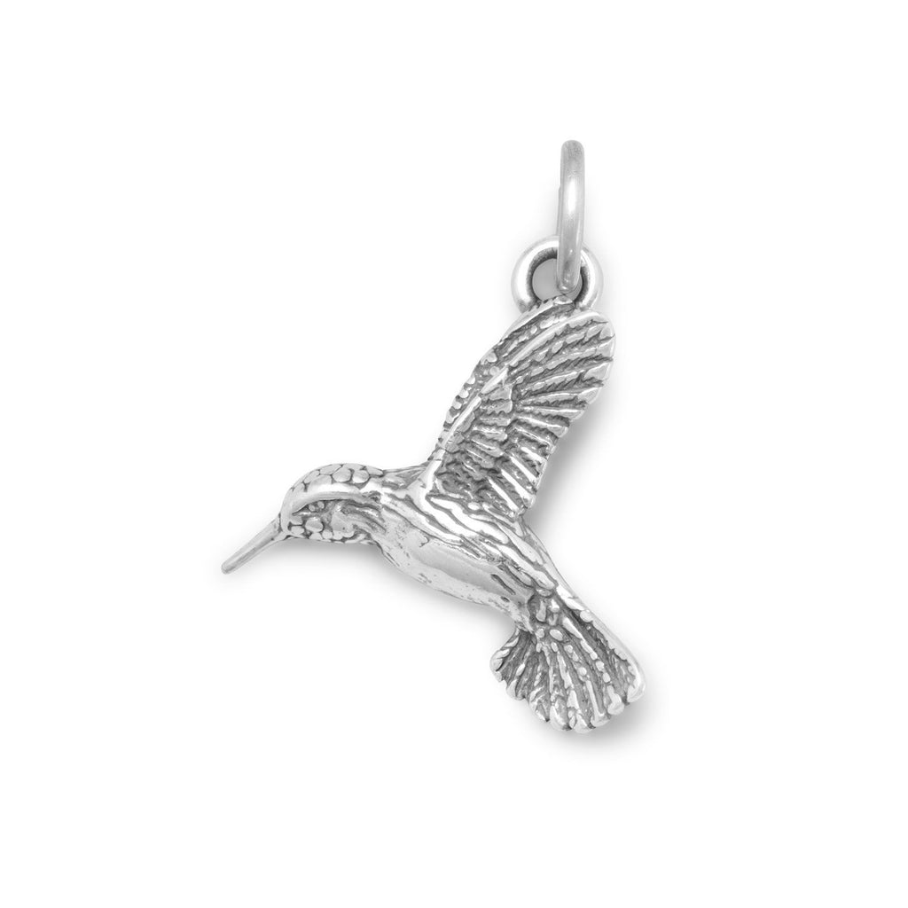 Oxidized Hummingbird Charm