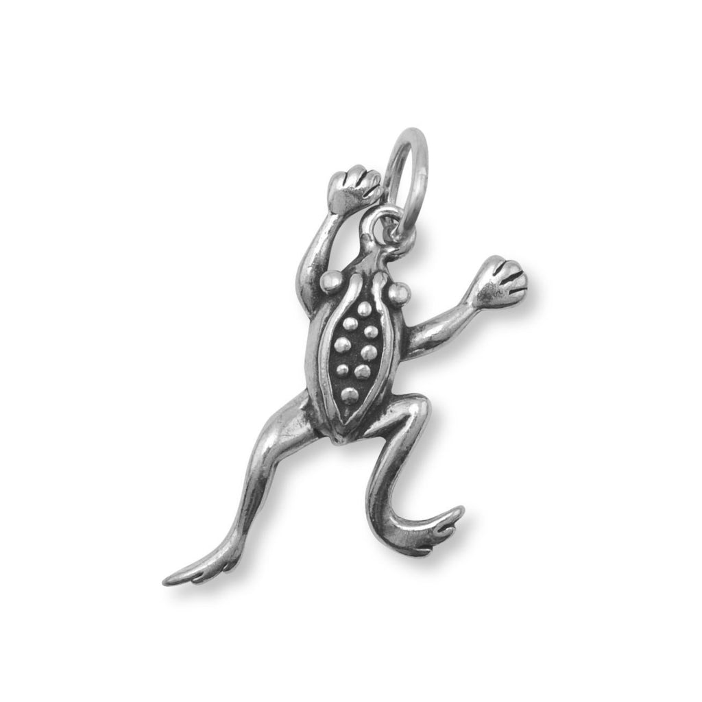 Oxidized Leaping Frog Charm