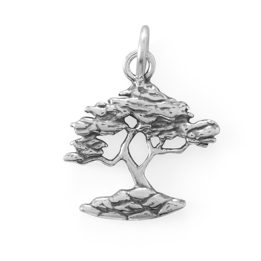 Oxidized Cypress Tree Charm