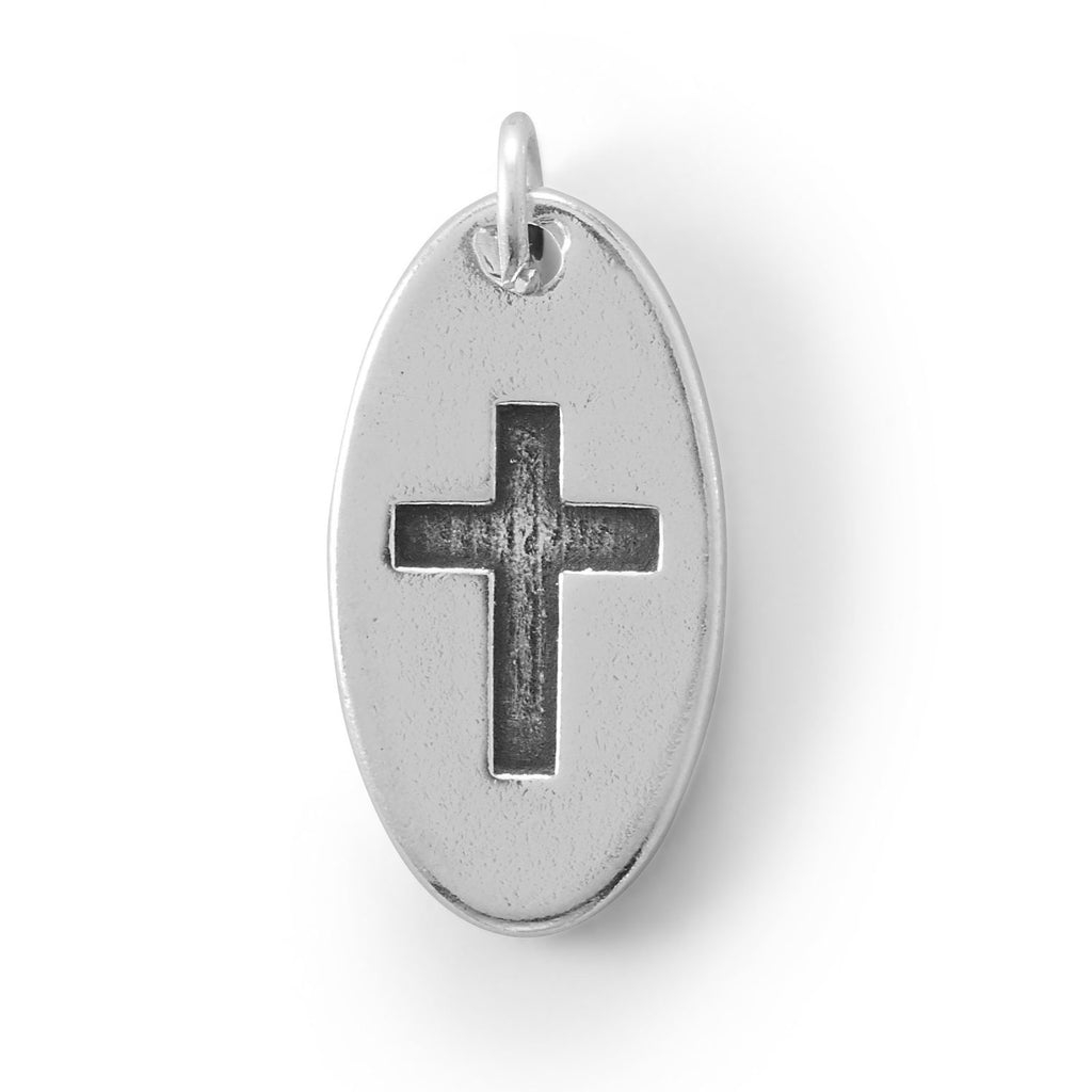 Oval  Charm with Oxidized Cross