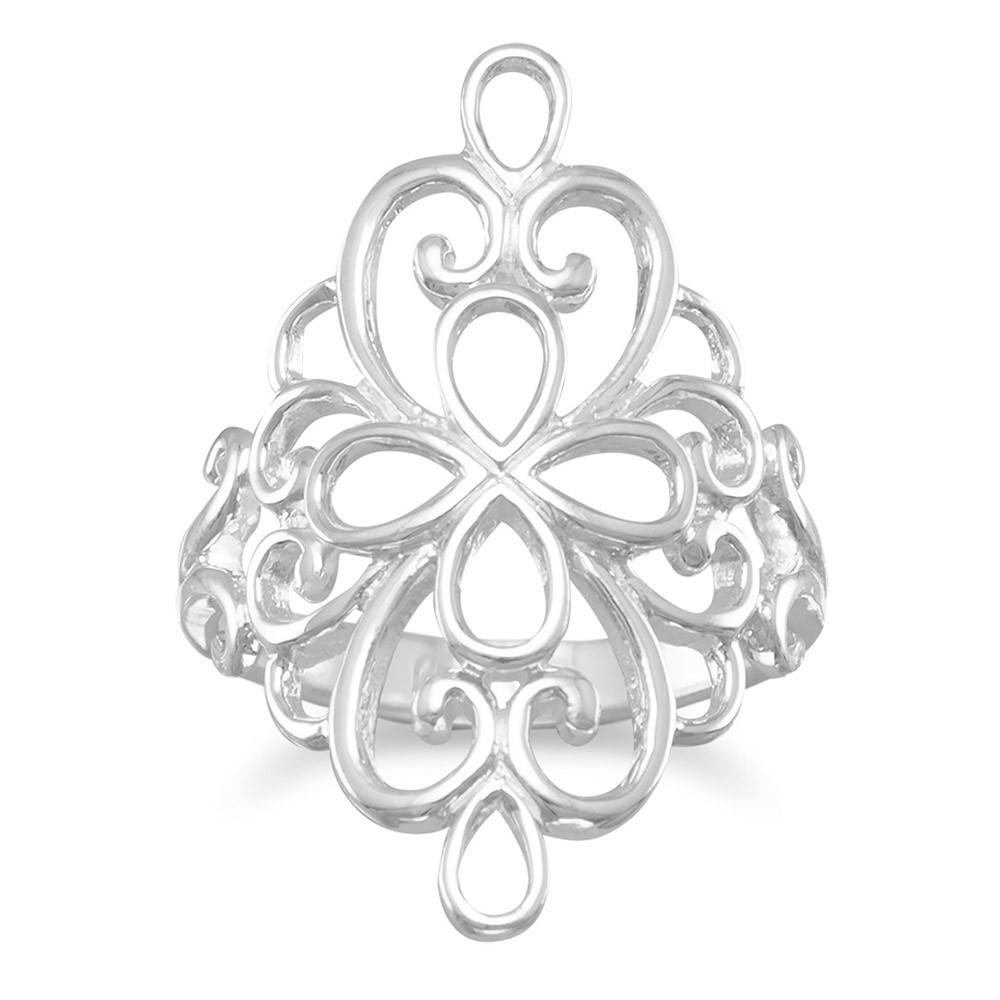 Polished Ornate Filigree Ring