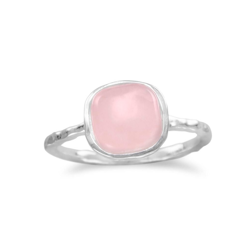 Square Rose Quartz Ring