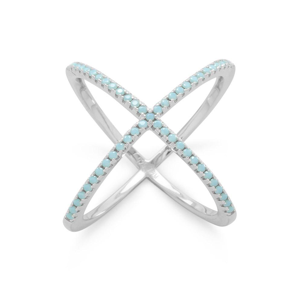 Rhodium Plated Criss Cross 'X' Ring with Blue CZs