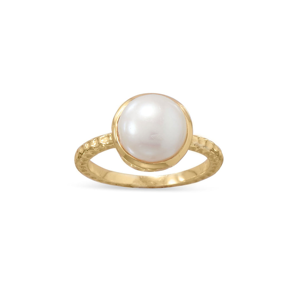 14 Karat Gold Plated Cultured Freshwater Pearl Ring