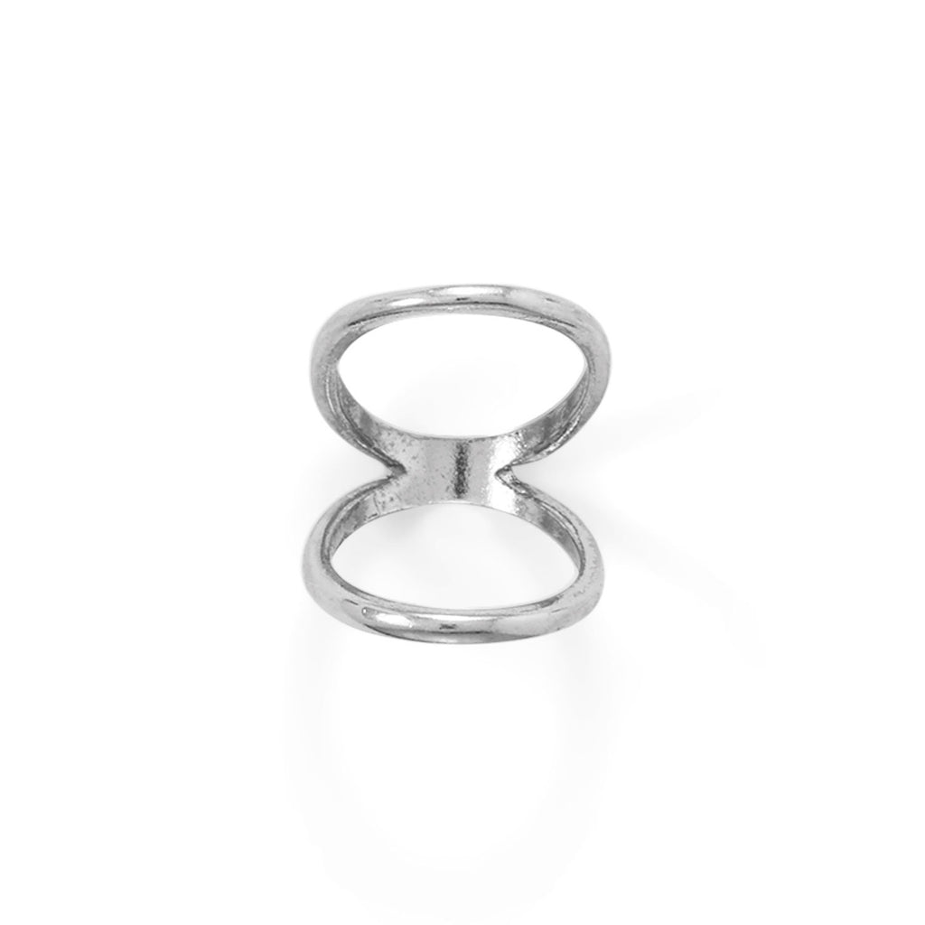 Rhodium Plated Double Band Knuckle Ring