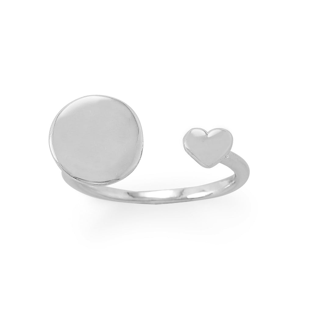 Engravable Rhodium Plated Wrap Ring with Heart