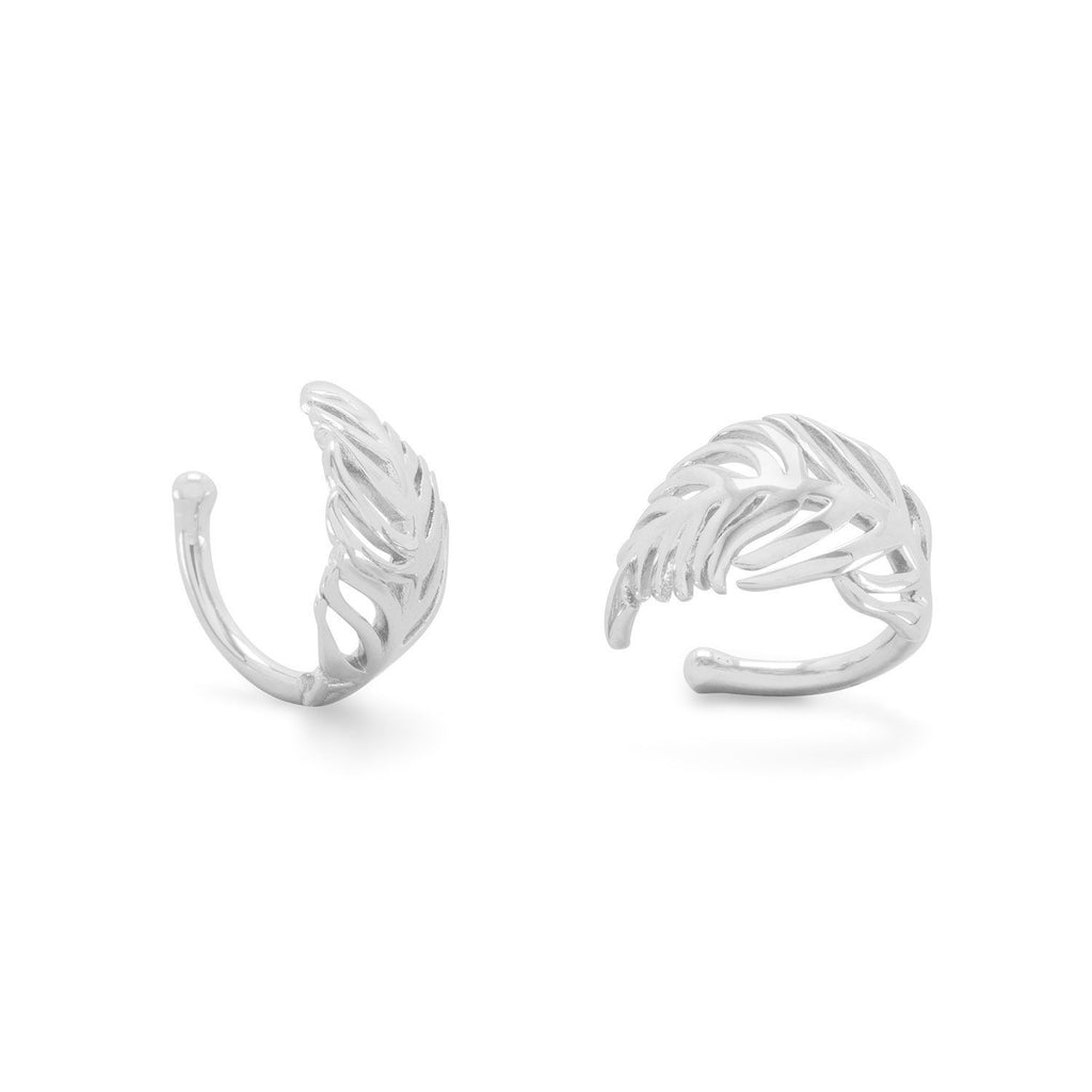 Rhodium Plated Feather Ear Cuffs