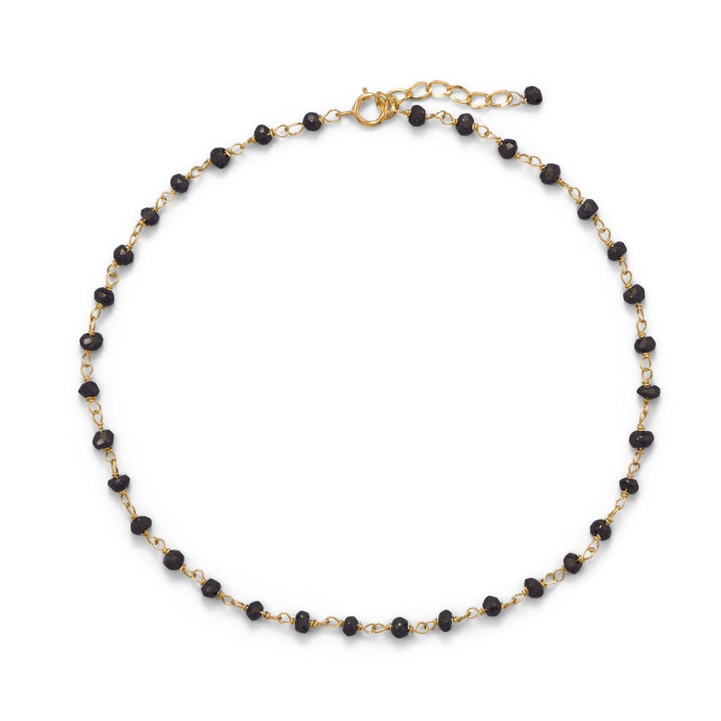 Midnight Sparkle! 14 Karat Gold Plated Black Spinel Anklet