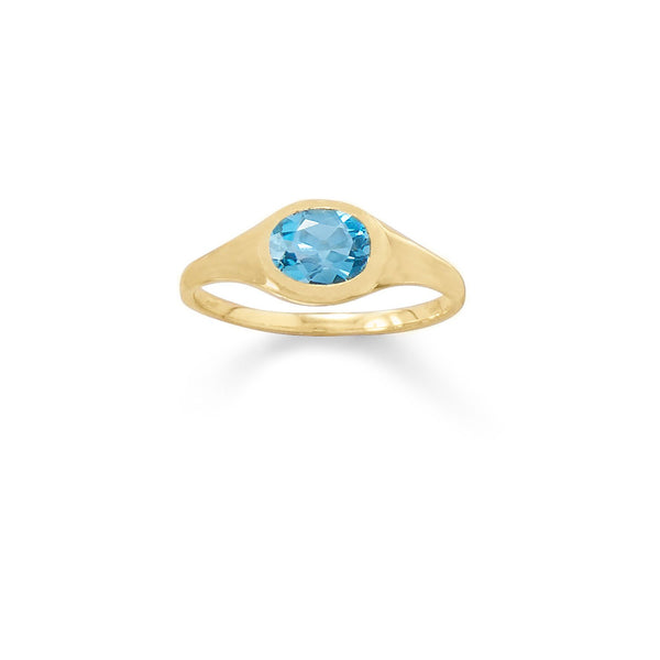 14 Karat Gold Plated Blue Topaz Ring