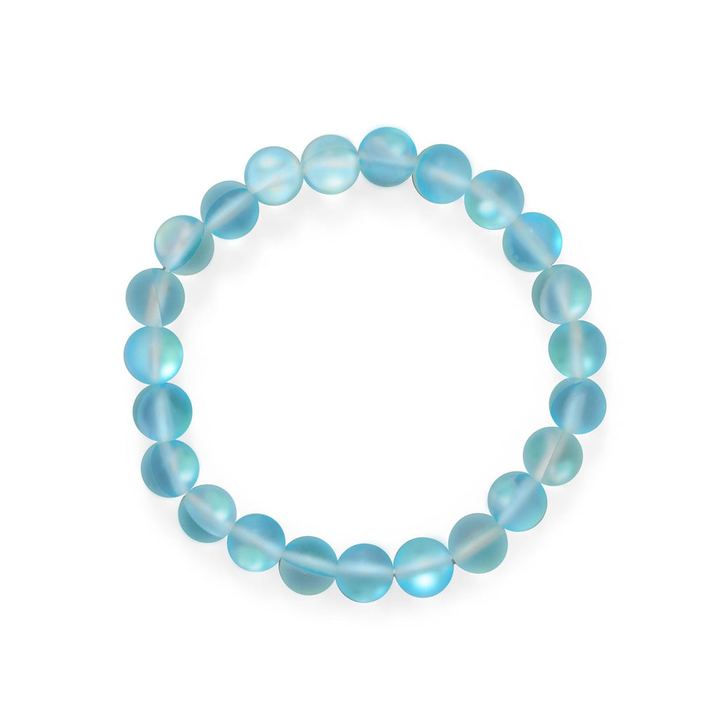 Ocean Wishes! Light Blue Glass Stretch Bracelet