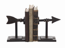 Bronze Arrow Shaped Cast Iron Bookends (Set of 2 Pieces)