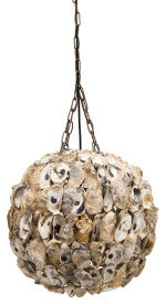 Round Oyster Shell Pendant Light with 6' Chain & 8' Cord (Hardwire Only)