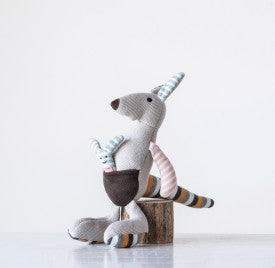 Grey Cotton Knit Kangaroo with Joey