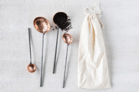 Copper Ladles with Hammer Textured Scoops & Smooth Handles (Set of 4 Sizes in Drawstring Bag)