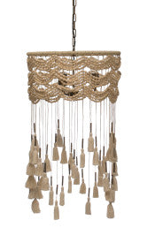 3-Light Cotton, Metal & Draped Wood Bead Pendant Light with Long Tassels, 6' Chain & 10' Cord (Hardwire Only)