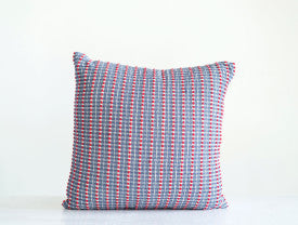 Red & Blue Square Cotton Woven Seersucker Pillow
