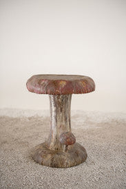 Vintage Reproduction Mushroom Shaped Metal Stool with Distressed Finish
