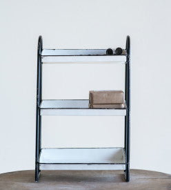 Heavily Distressed White 3-Tier Metal Tray with Black Frame & Rim
