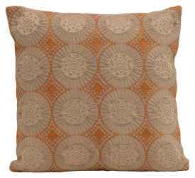 Square Embroidered Geometric Pattern Cotton Pillow