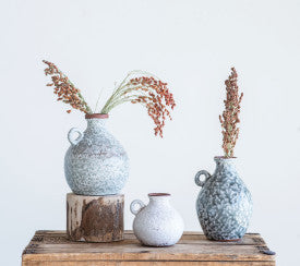Distressed Grey Terracotta Vases with Reactive Glaze Finish (Set of 3 Sizes)
