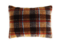 Polyester & Wool Blend Pillow with Brown Plaid Pattern