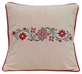 Square Floral Cross-Stitch Cotton Pillow with Piped Trim