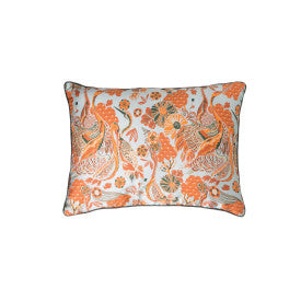 Reversible Blue & Orange Floral Cotton Blend Lumbar Pillow with Crane Images & Solid Black Velvet Back