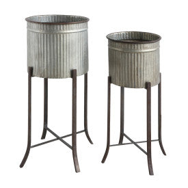 Grey Corrugated Metal Planters on Stands (Set of 2 Sizes)