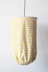 White with Yellow Polka Dots Fabric Pendant Light