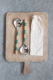 Stainless Steel Salad Servers with Striped Cane Handles (Set of 2 Pieces in Drawstring Bag)